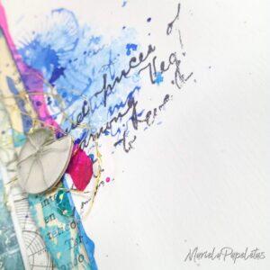 Detalle Mini álbum mixed media, Papeles Artic & Antartic de Stamperia & MarielaPapeletas
