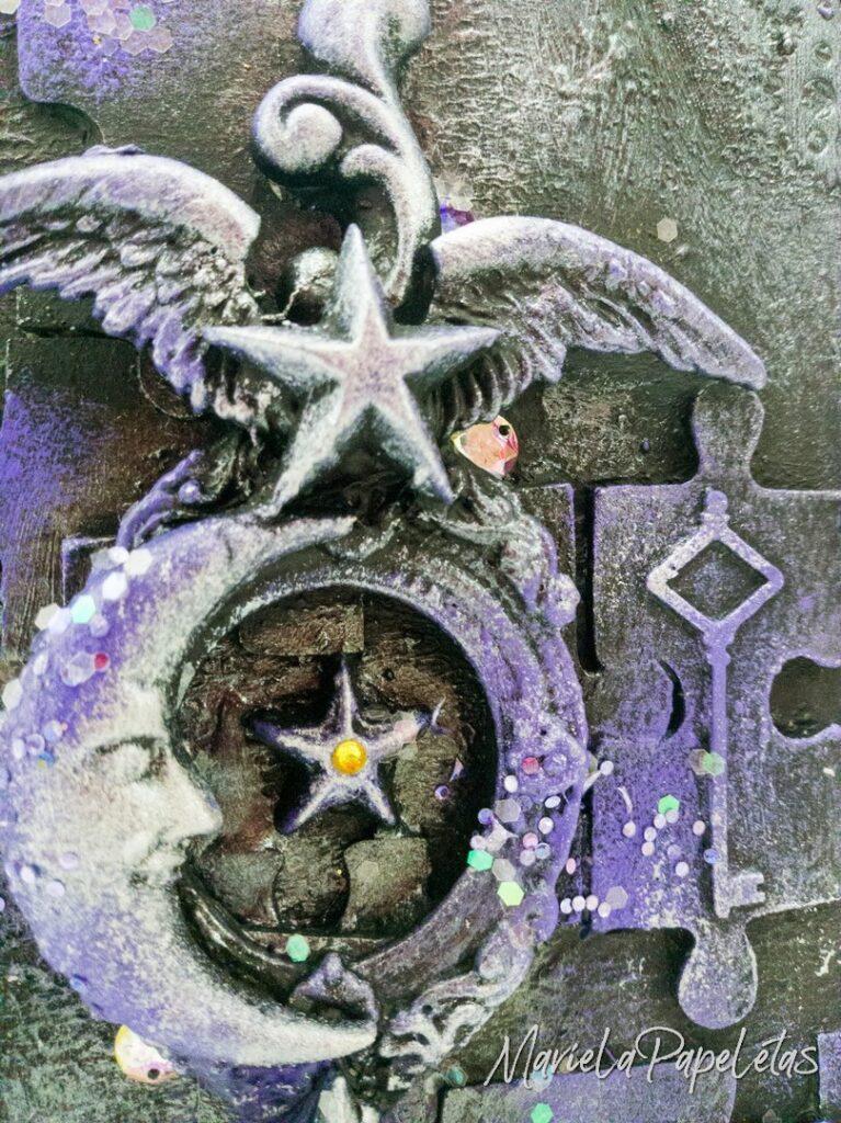 Detalle de la tapa de mi Art jOurnal en primer plano las molduras de Decomolduras