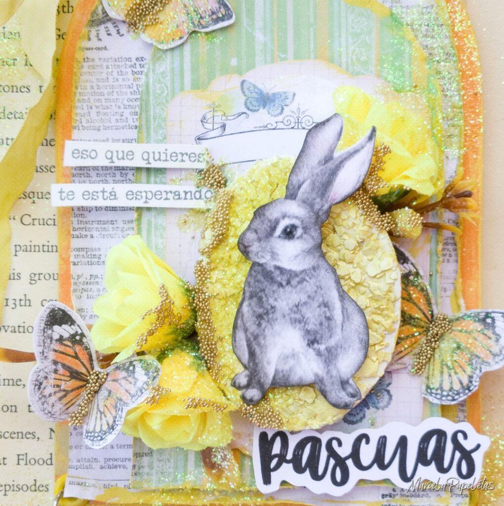Detalle de tarjeta de Pascuas con huevo real en Background
